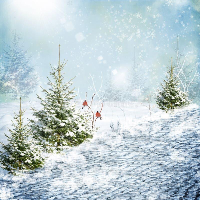 Estrada da neve do inverno ilustração stock