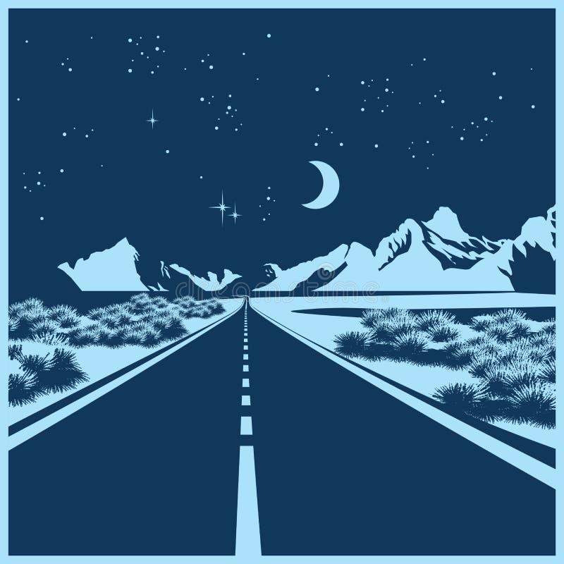 Estrada da noite ilustração do vetor