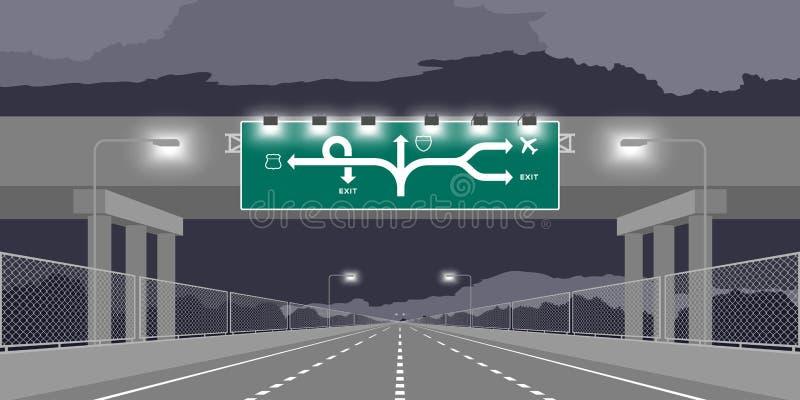 Estrada da passagem subterrânea da estrada ou estrada e signage verde na ilustração da noite ilustração royalty free