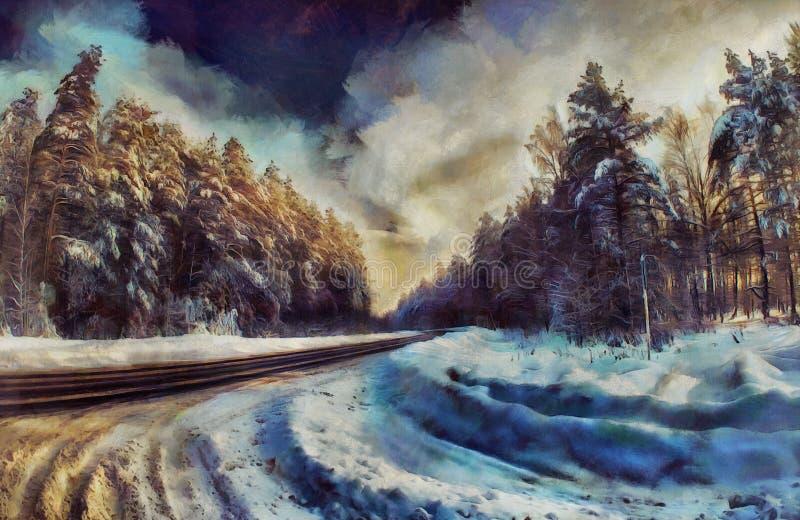 Estrada da pintura a óleo através de uma floresta do inverno ilustração do vetor