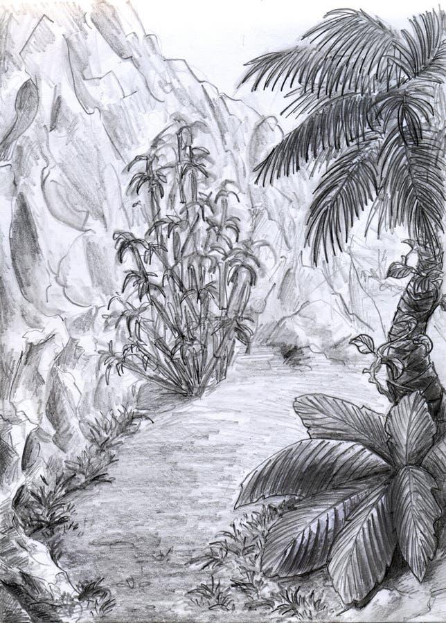 Estrada da selva - wiev vertical ilustração stock