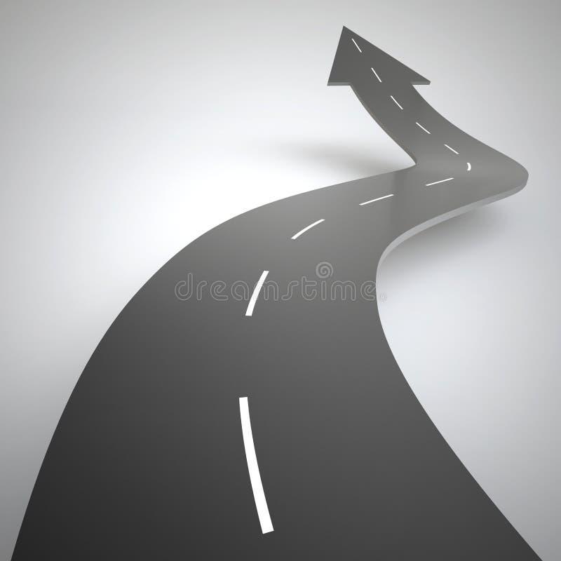 A estrada dada forma seta aumenta para cima rendição 3d ilustração royalty free