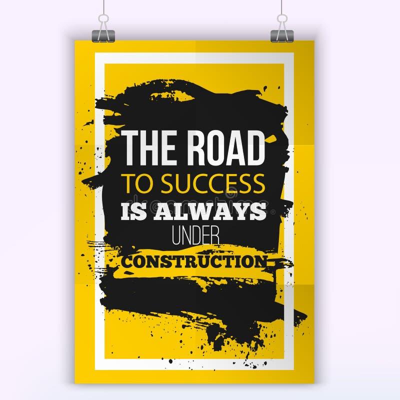Estrada das citações do negócio da motivação ao sucesso Zombaria acima do cartaz Conceito de projeto no papel com a mancha escura ilustração stock