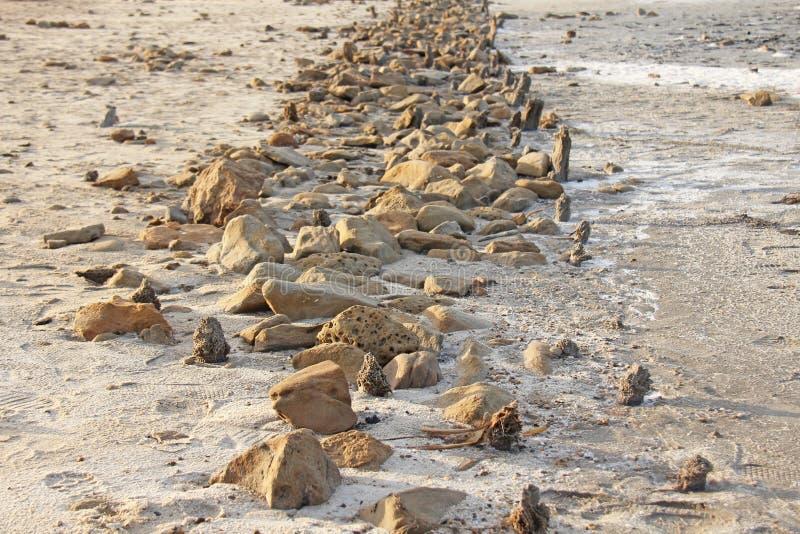 Estrada das pedras no lago de sal de Elton, Russi fotos de stock