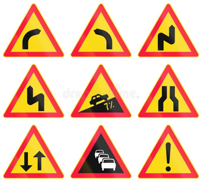 A estrada de advertência assina dentro Finlandia ilustração royalty free