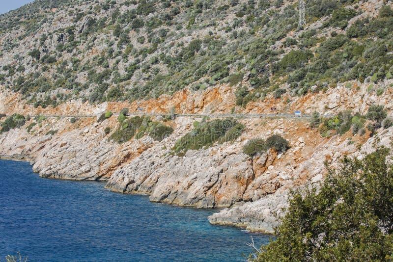 Estrada de Antalya Kas-Patara no meio imagem de stock