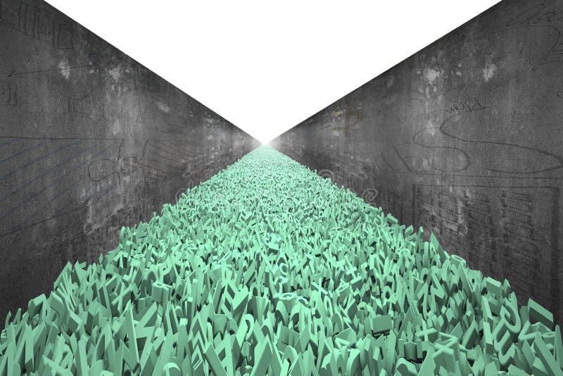 A estrada de dados grande, caráteres 3d enormes forma a estrada, muro de cimento fotos de stock