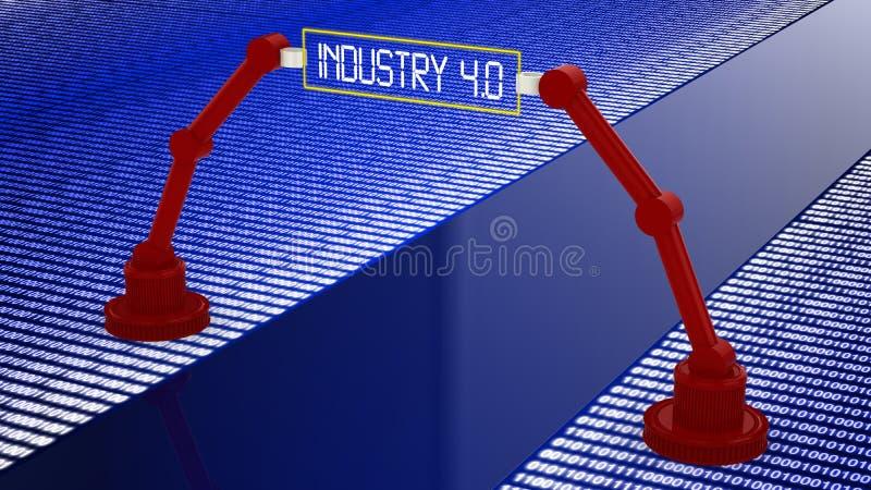 Estrada de Digitas à indústria 4 A palavra da cor vermelha situada sobre o texto da cor branca ilustração stock