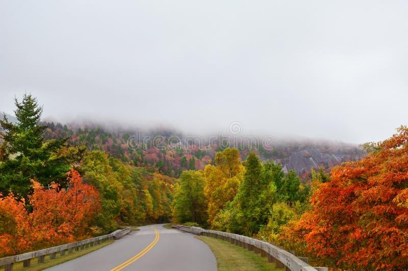 Estrada de enrolamento através da floresta nevoenta da queda na montanha apalaches imagem de stock