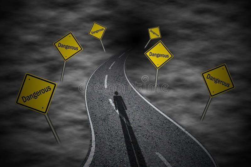 Estrada de enrolamento com os sinais de estrada 'perigosos' ilustração do vetor