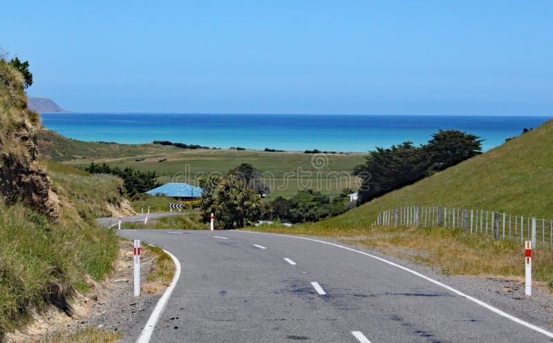 A estrada de enrolamento conduz para baixo ao mar em Nova Zelândia fotografia de stock royalty free