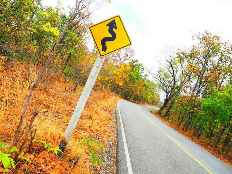 Estrada de enrolamento na floresta seca dourada do dipterocarp fotos de stock royalty free