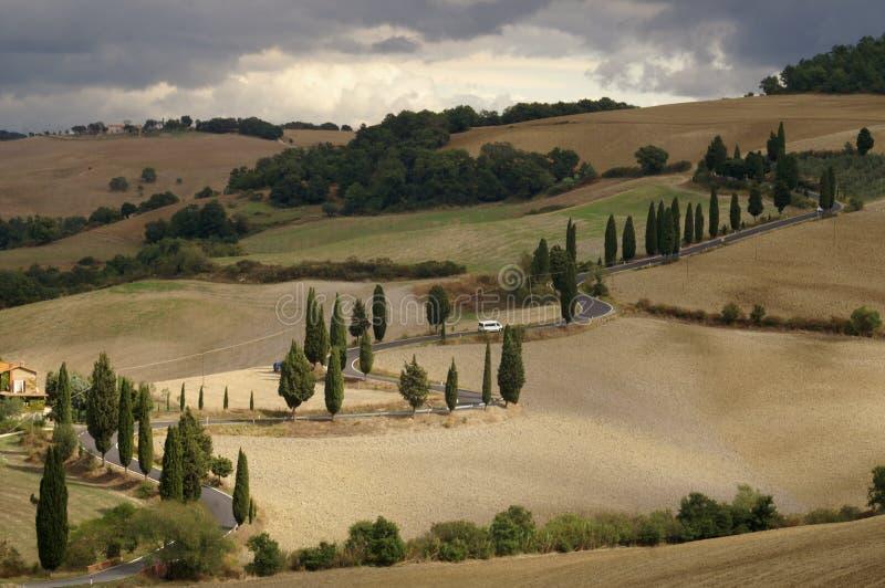 Estrada de enrolamento na paisagem de Tuscan fotografia de stock royalty free