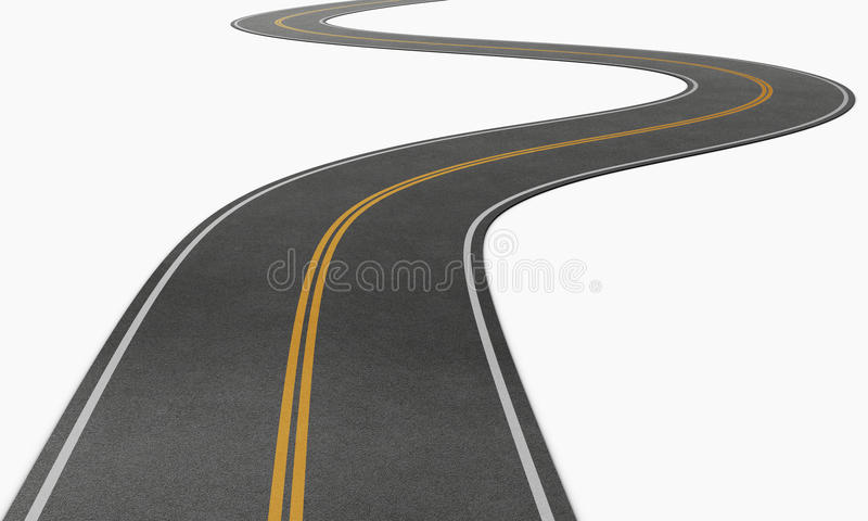 Estrada de enrolamento que desaparece na distância Imagem conceptual 3 ilustração stock