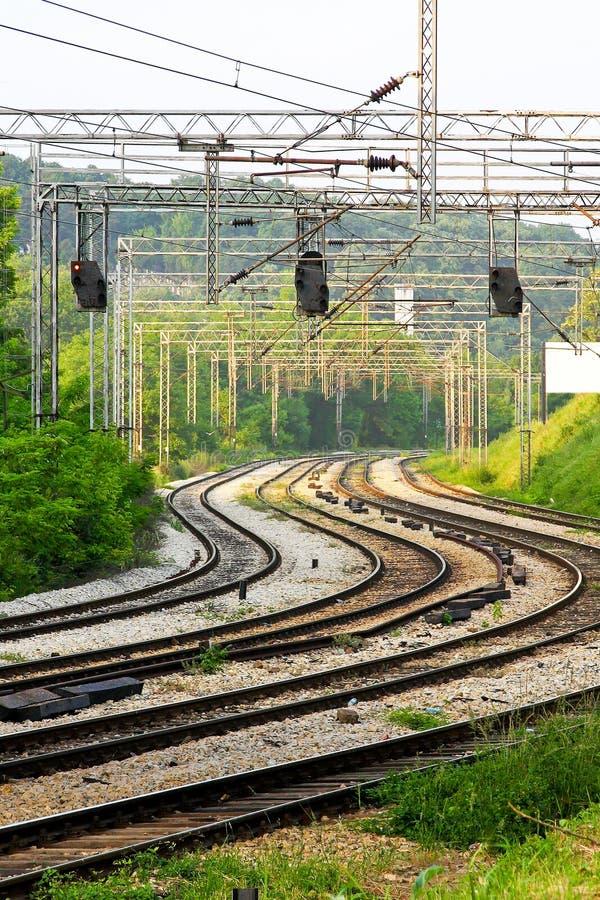 Estrada de ferro curvada imagens de stock