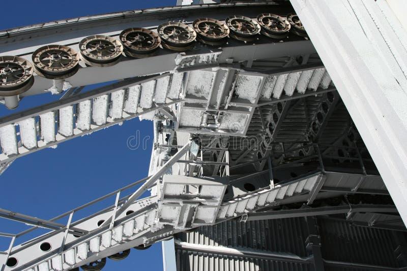 Estrada de ferro de cabo da roda fotos de stock