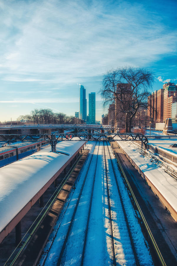 Estrada de ferro de Chicago fotos de stock