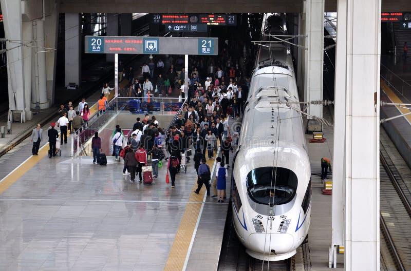 Estrada de ferro de China Beijing, ââRail de alta velocidade foto de stock royalty free