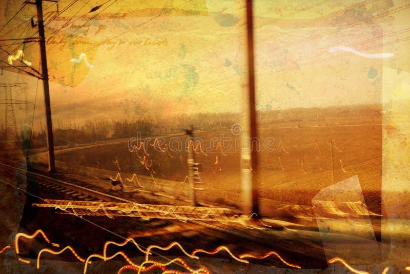 Estrada de ferro de Grunge ilustração do vetor