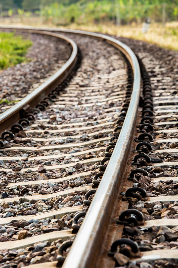 Estrada de ferro do close up no lumphun Tailândia fotografia de stock