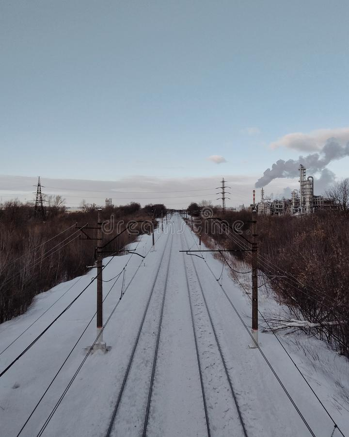 Estrada de ferro do inverno fotografia de stock