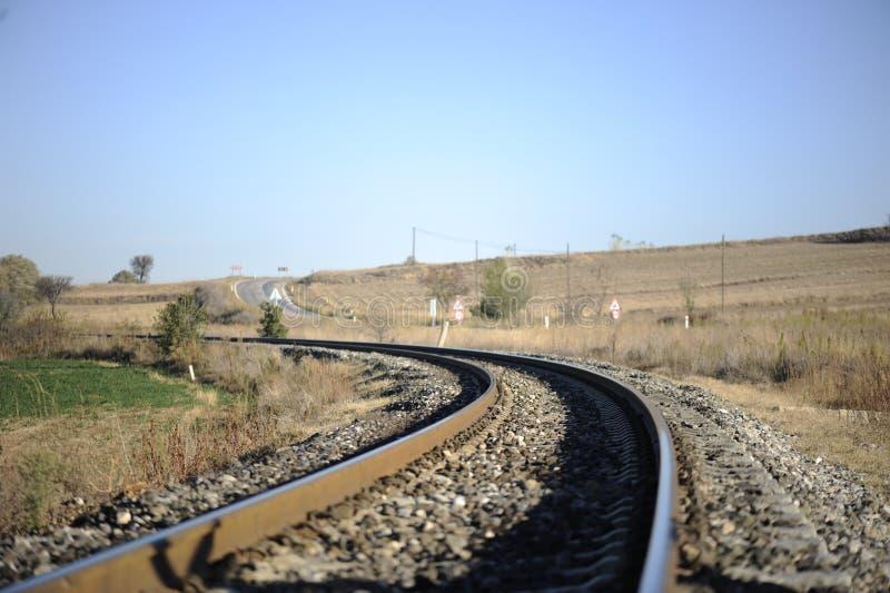 Estrada de ferro em áreas rurais fotografia de stock