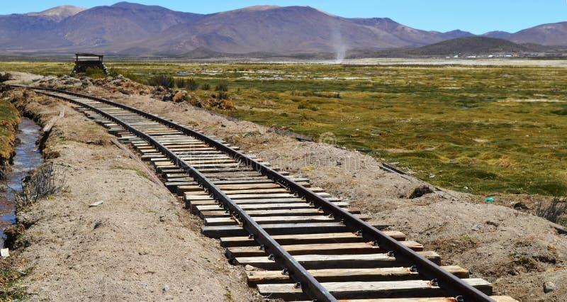 Estrada de ferro no Altiplano chileno imagens de stock royalty free