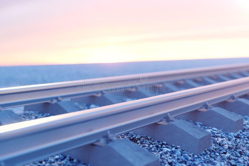Estrada de ferro ou estrada de ferro, estrada de ferro de aço para trens Curso da estrada de ferro, turismo railway Conceito do t ilustração do vetor