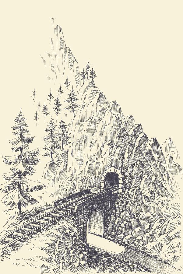 A estrada de ferro, a ponte e o trem escavam um túnel nas montanhas ilustração do vetor