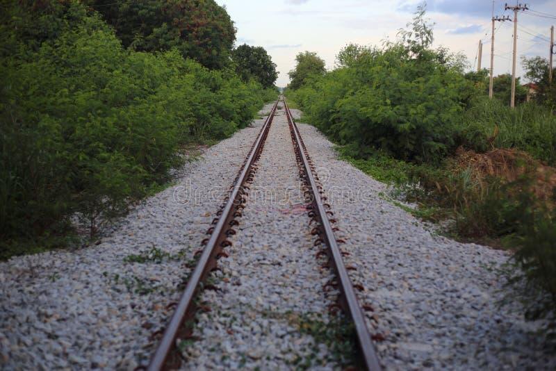 A estrada de ferro vai ao horizonte na paisagem verde fotos de stock