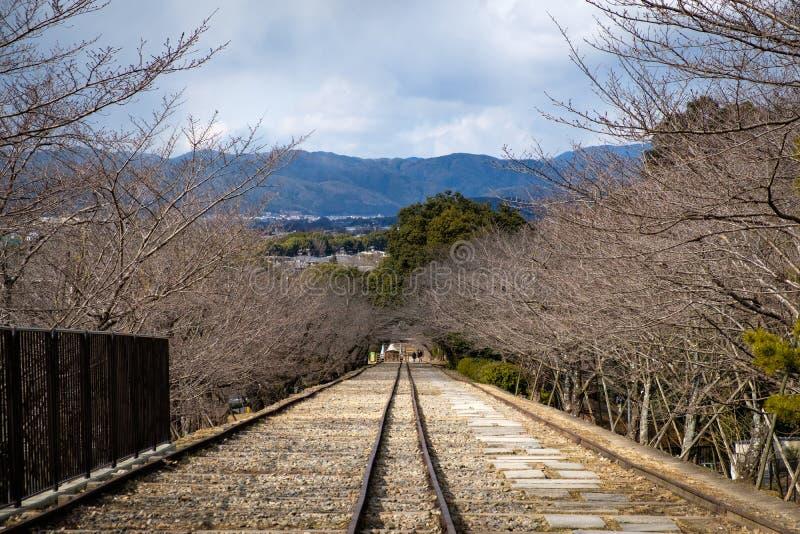 Estrada de ferro velha do declive de Keage cercada por árvores de cereja imagens de stock
