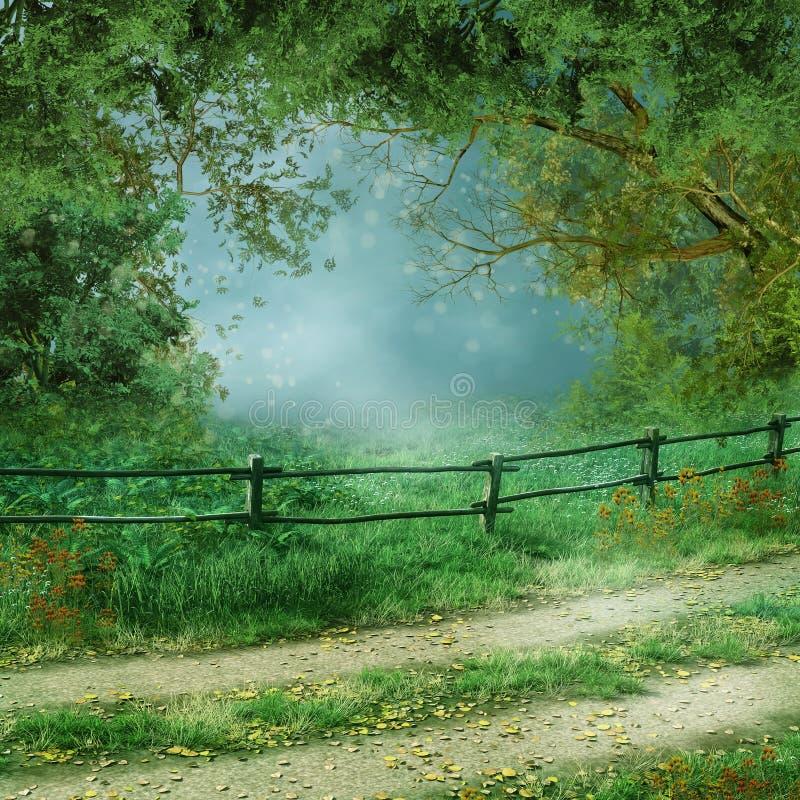 Estrada de floresta velha ilustração do vetor