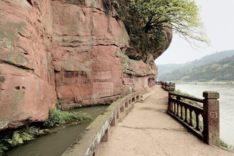 Estrada de Jiajiang China-Um em Jiajiang mil penhascos da Buda fotos de stock royalty free