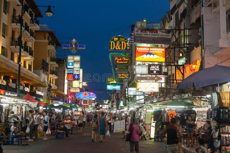 Estrada de Khao San, Banguecoque fotos de stock
