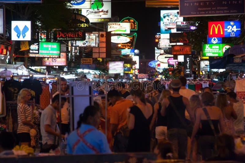 Estrada de Khao San. Banguecoque, Tailândia fotografia de stock royalty free