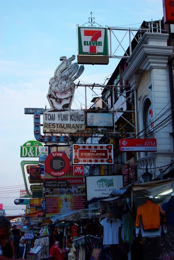 Estrada de Khao San em Banguecoque foto de stock