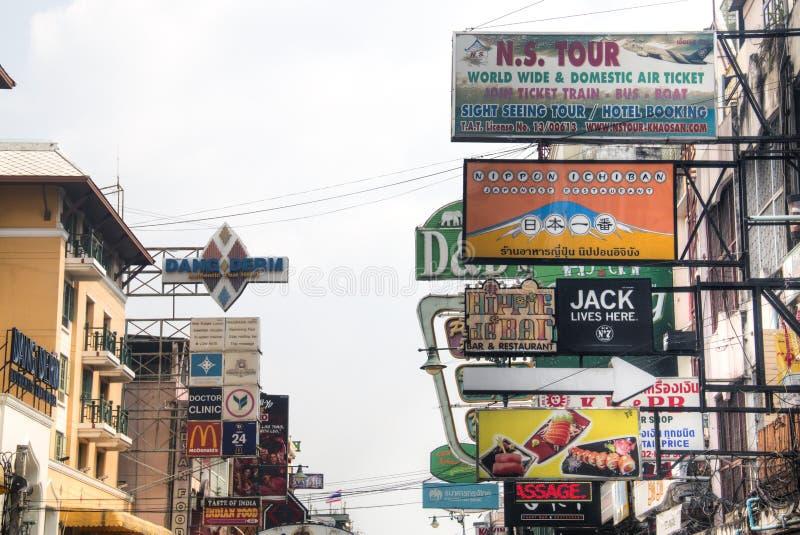 Estrada de Khao San em Banguecoque, Tailândia foto de stock royalty free