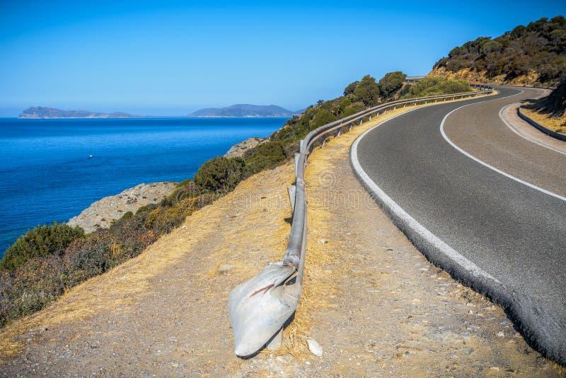 Estrada de Panorami no souyh sardinia foto de stock