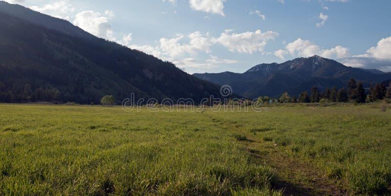 A estrada de terra do país através dos prados da montanha sob a manhã do cúmulo nubla-se em Rocky Mountains central em Wyoming al imagem de stock royalty free