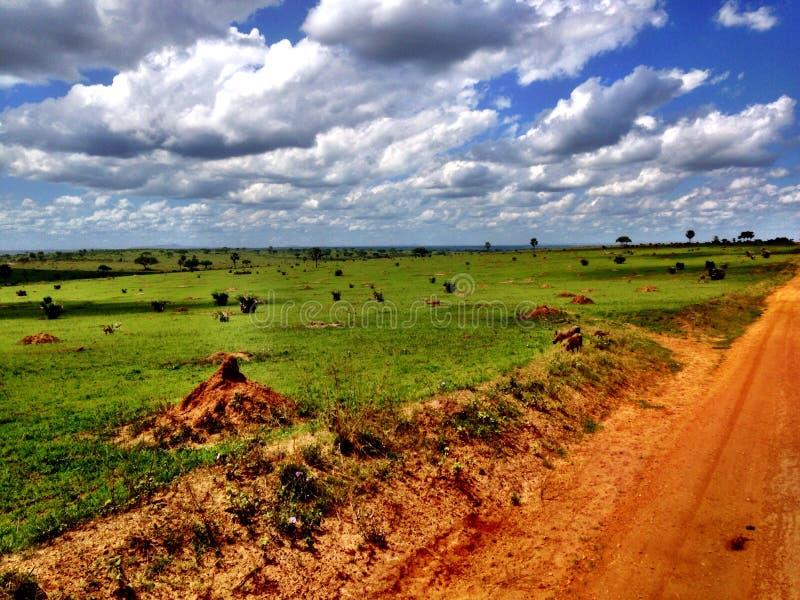 Estrada de terra do safari de Uganda imagens de stock