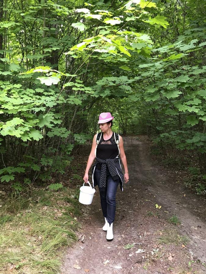 A estrada de terra na floresta nela vai uma menina da máquina desbastadora do cogumelo com uma cubeta para cogumelos Em torno da  imagens de stock royalty free