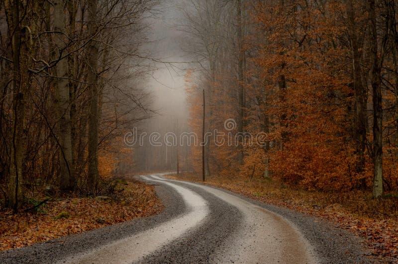 Estrada de terra nevoenta da manhã nas montanhas fotos de stock royalty free