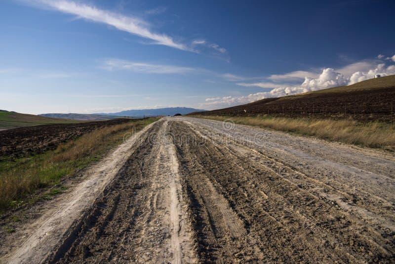 Estrada de terra seca através do sul Geórgia foto de stock