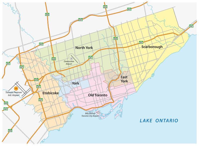 Estrada de Toronto e mapa administrativo ilustração do vetor