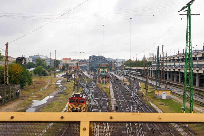 Estrada de trilho Hungria do estação de caminhos-de-ferro de Budapest Nyugati fotos de stock