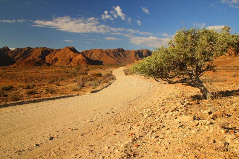 Estrada do cascalho, Namíbia imagens de stock royalty free