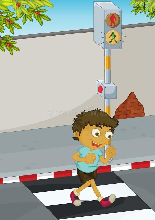 Estrada do cruzamento do menino ilustração royalty free