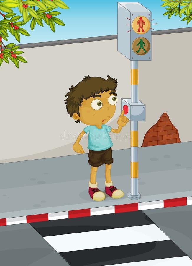 Estrada do cruzamento do menino ilustração stock
