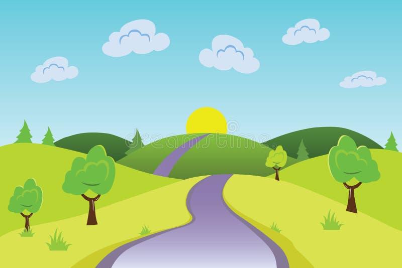 Estrada do fundo da natureza a expor-se ao sol no alvorecer ilustração royalty free