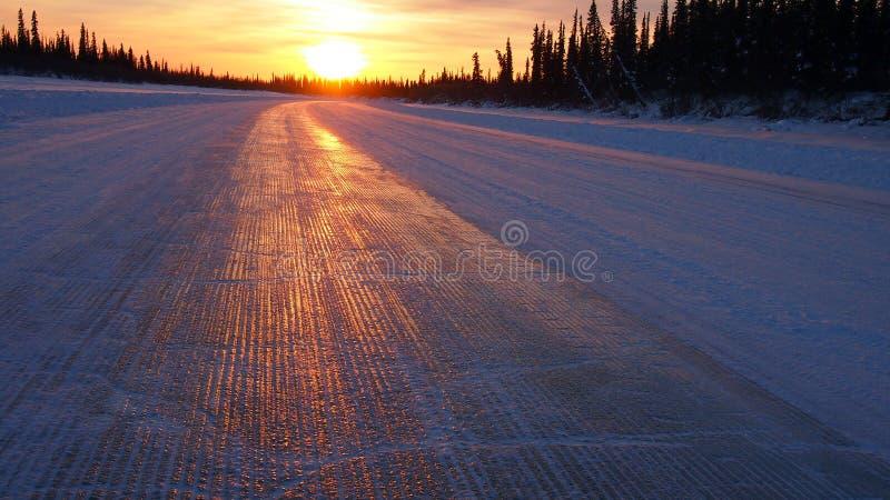 Estrada do gelo de Aklavik imagens de stock
